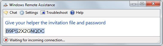 windows remote assistance password