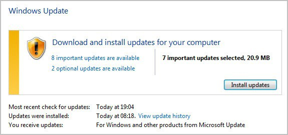 windows update january 2012