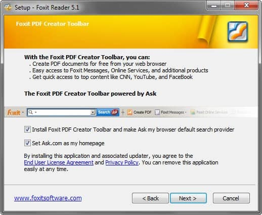 foxit reader adware