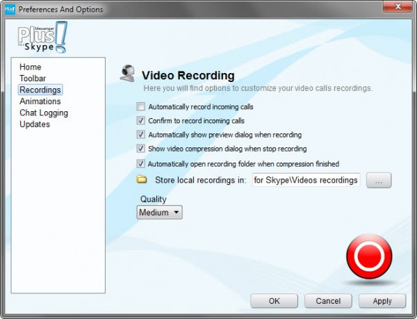 skype video recording preferences
