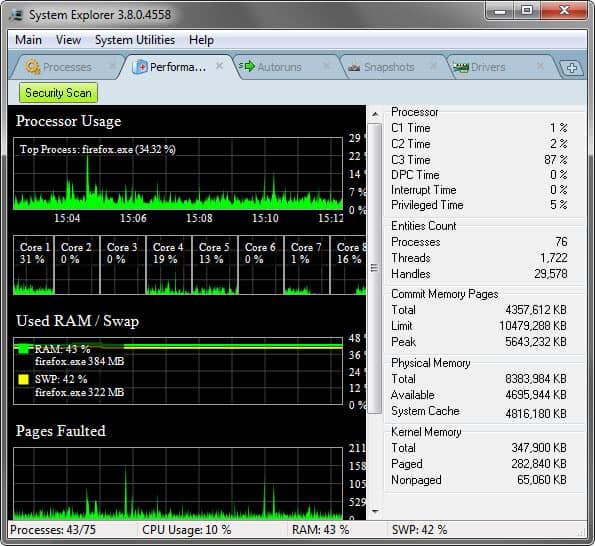 system explorer performance