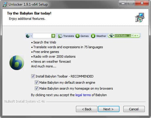 unlocker babylon toolbar