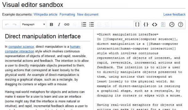wikipedia visual editor