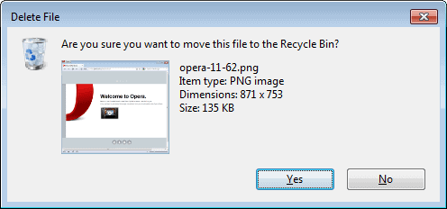 are you sure you want to move this file to the recycle bin