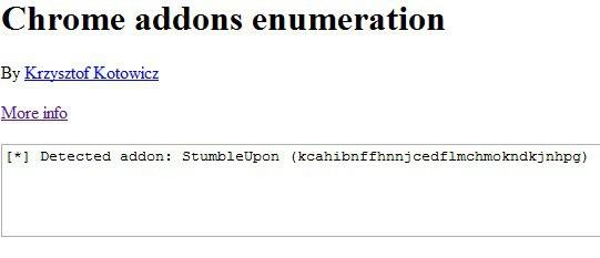 chrome add-ons enumeration