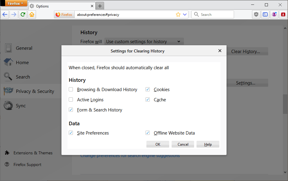 firefox browsing history and sessions