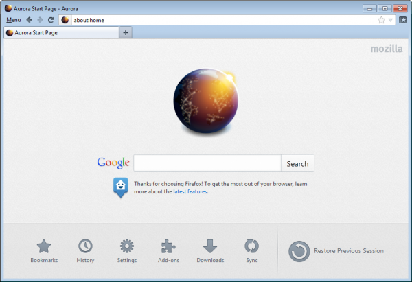 firefox home page