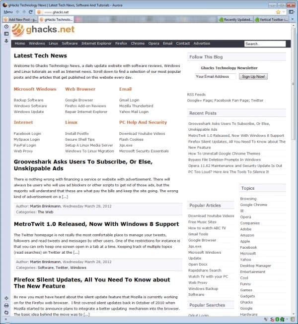 firefox vertical toolbar