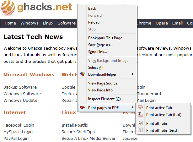Print Multiple Tabs or Bookmarks As One PDF Document In