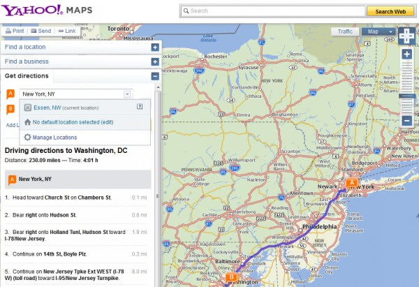 yahoo driving directions
