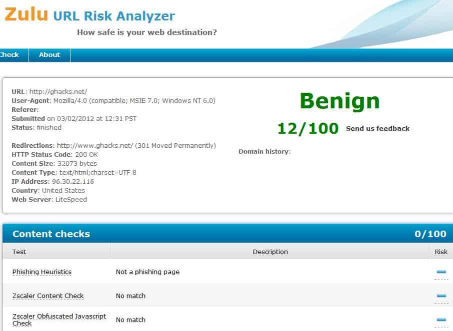 Zulu URL Risk Analyzer, Website Safety Check - gHacks Tech News