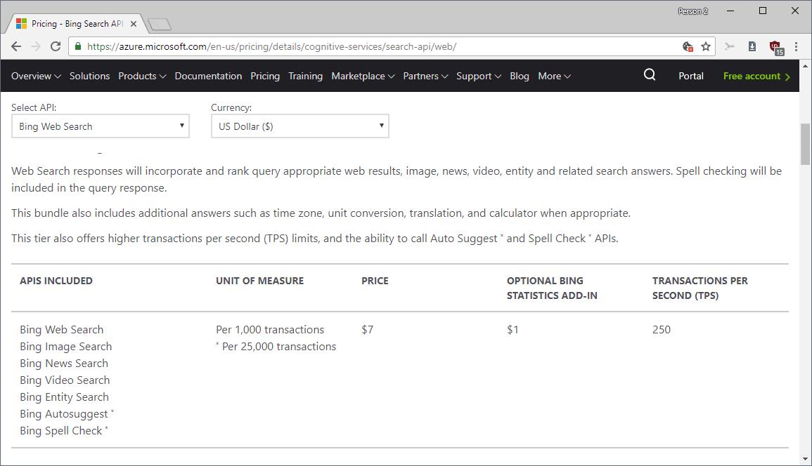 bing web search api