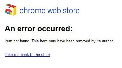 chrome web store an error occurred