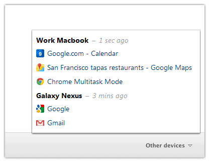 chrome other devices menu