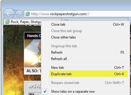 duplicate tabs internet explorer