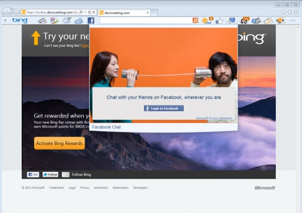 facebook chat bing toolbar