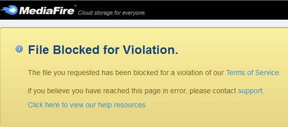 file blocked by violation