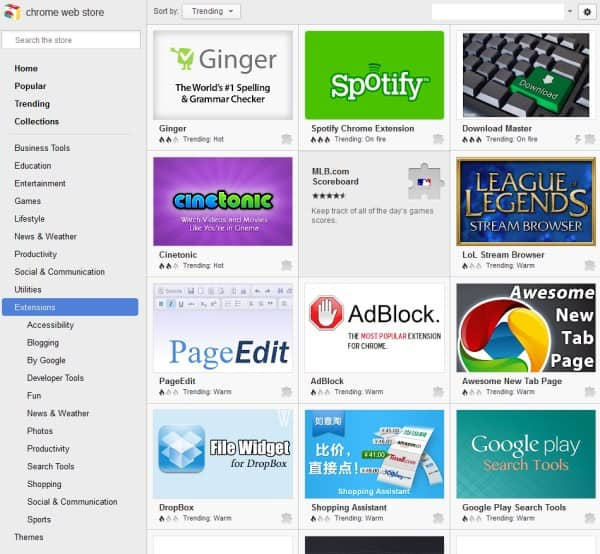 google chrome web store trending