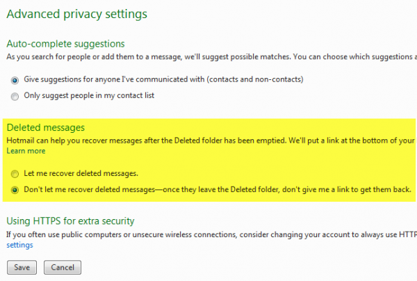 hotmail deleted messages
