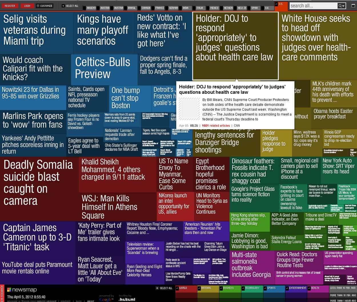 Newsmap, A Google News Visualization - gHacks Tech News