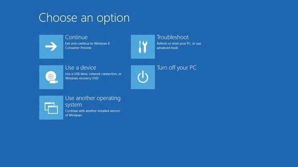 Boot Options menu