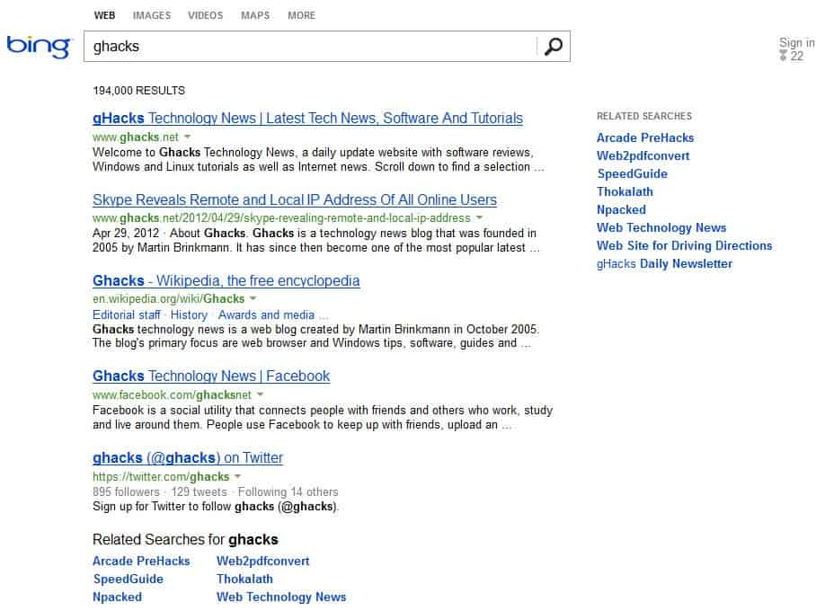 Bing Cleans Up Its Search Results Page