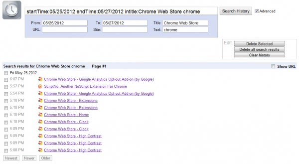 chrome ehistory search