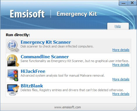emsisoft emergency kit launcher
