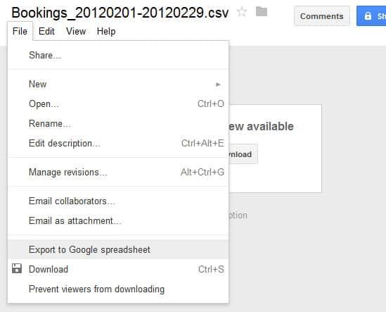 export to google spreadsheet