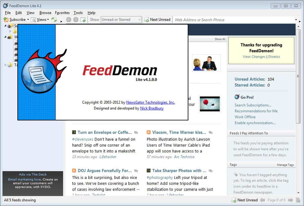 FeedDemon 4.1 Released - gHacks Tech News
