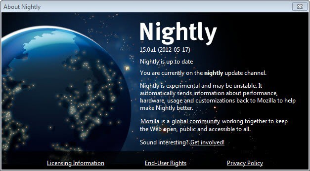 firefox nightly up to date