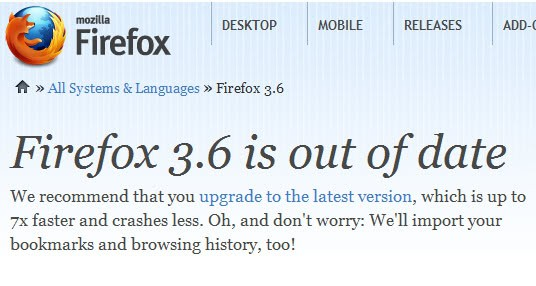 firefox out of date