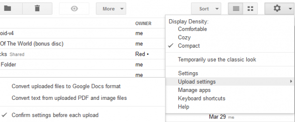 google docs upload settings