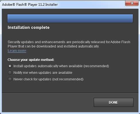 adobe flash player auto updates