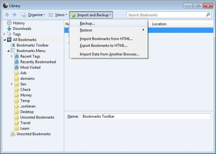 How to Backup and Move Firefox Bookmarks to another Computer