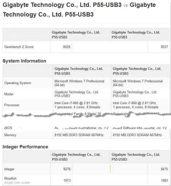 compare benchmarks