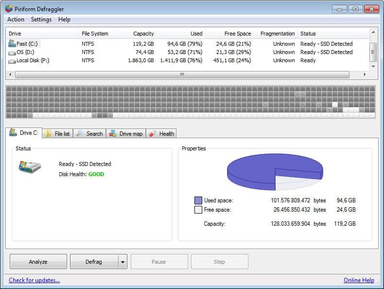 disk defragmenter defraggler