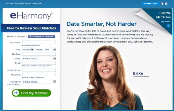 Reset eharmony account