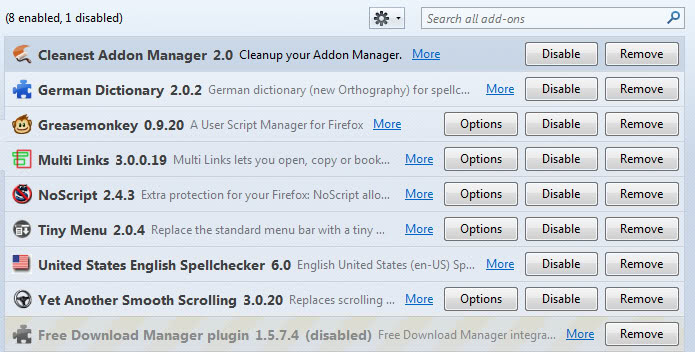 firefox clean addon manager