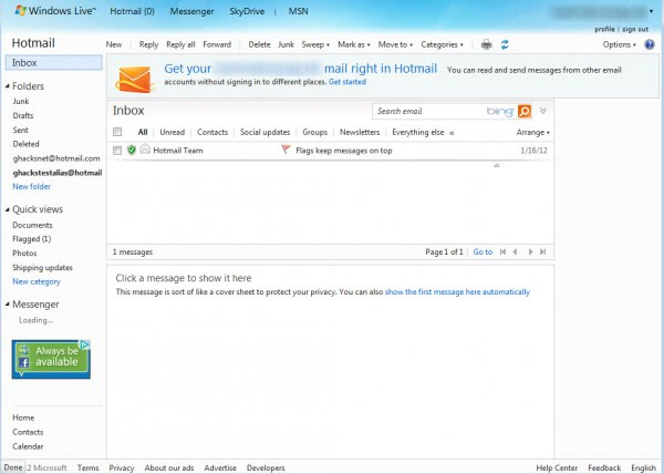 hotmail old design