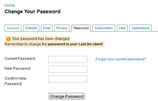 change last.fm password