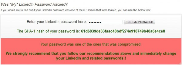 linkedin password
