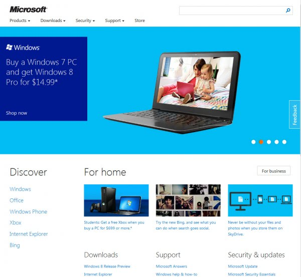 microsoft new homepage