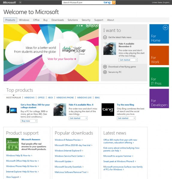 old microsoft homepage