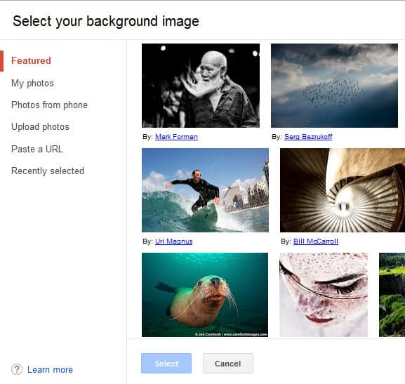select gmail background