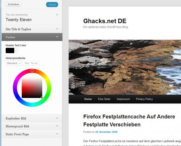 wordpress 3.4 theme customizer
