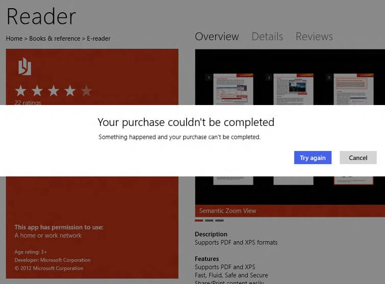 Fix Windows Store error: Your purchase couldn't be completed