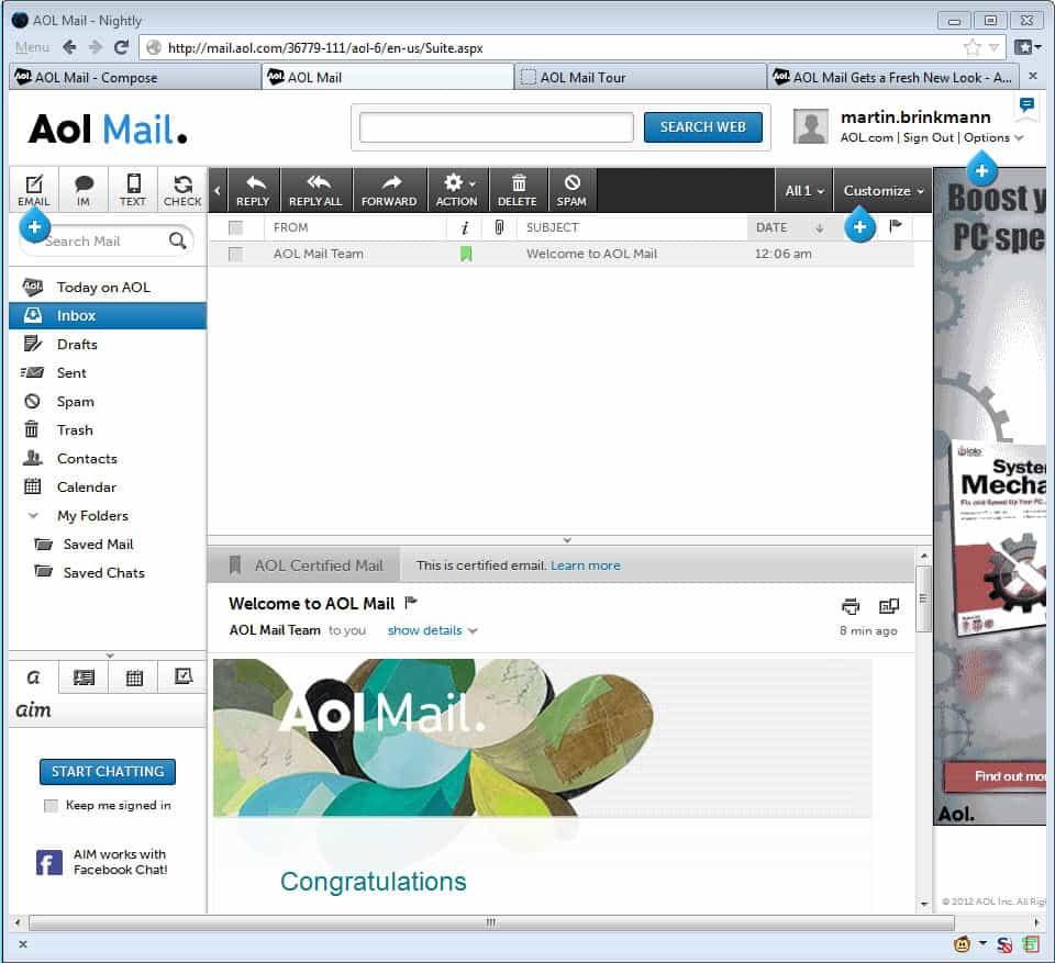 You've Got Mail: I just created an AOL Mail account ...