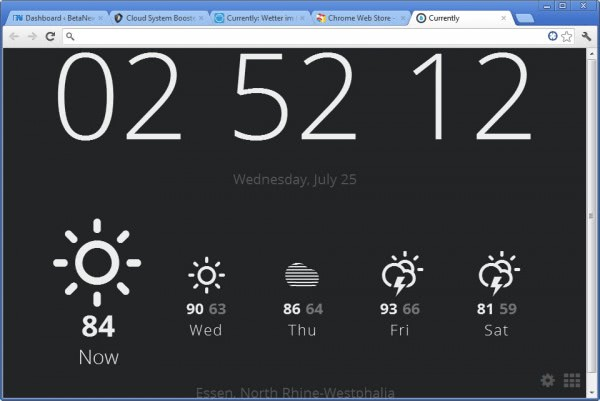 currently chrome time weather extension