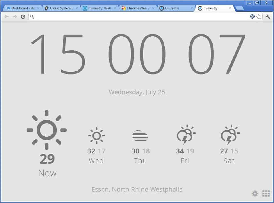 Currently for Chrome: weather and time on new tab pages